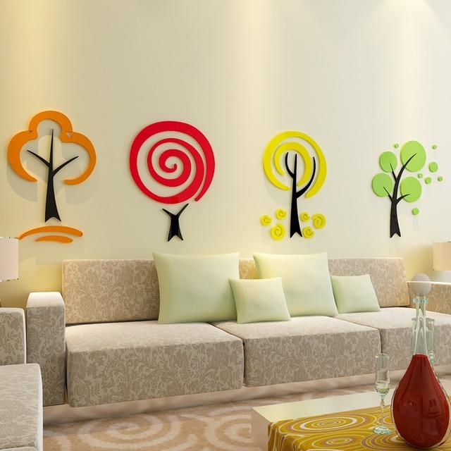 Pegatinas de pared de árbol de dibujos animados 3d para habitaciones ...