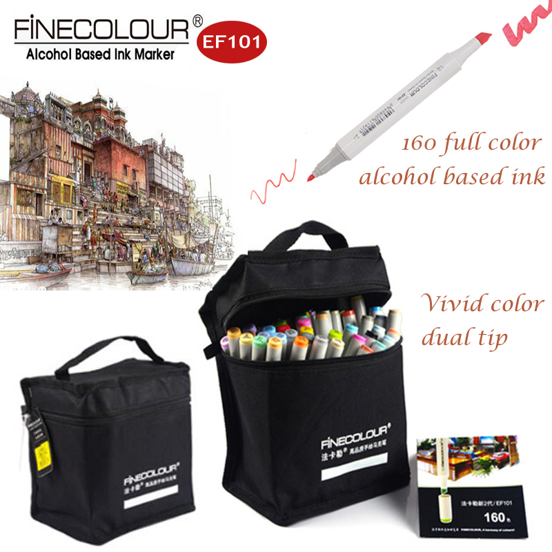 Finecolour EF101 Manga Sketch Art Markers Fiber Journal Pens alcohol 160/72 Refill Professional Drawing Pen Architecture Marker touchnew 60 colors artist dual head sketch markers for manga marker school drawing marker pen design supplies 5type