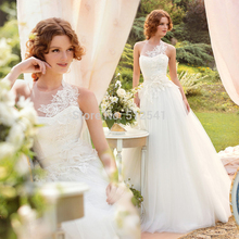Charming Lace Sheer Wedding Dresses A Line Sweetheart Applique Organza Flowers Sleeveless Bridal Gown yk1A336