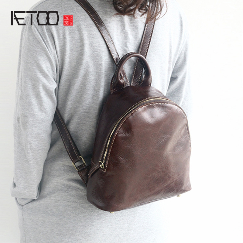 AETOO Leather shoulder bag female bag head layer cowhide fashion Korean version of the tide new leather wild shoulder small new korean version of the first layer of leather pillow bag large lychee pattern handbag shoulder messenger fashion leather leat