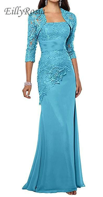 Turquoise Lace Mother Of The Bride Dresses With Jacket Appliques Three Quarter Long Sleeves Mermaid Mother's Evening Gowns