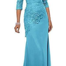 Бирюзовые кружевные платья для матери невесты с пиджаком с аппликацией, три четверти, длинные рукава, Русалка, вечерние платья для матери