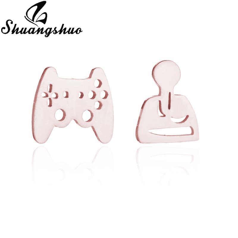 Shuangshuo Staianless สตั๊ดต่างหูผู้หญิงต่างหู Gamer Controller Ear Studs เครื่องประดับ pendientes moda mujer 2019