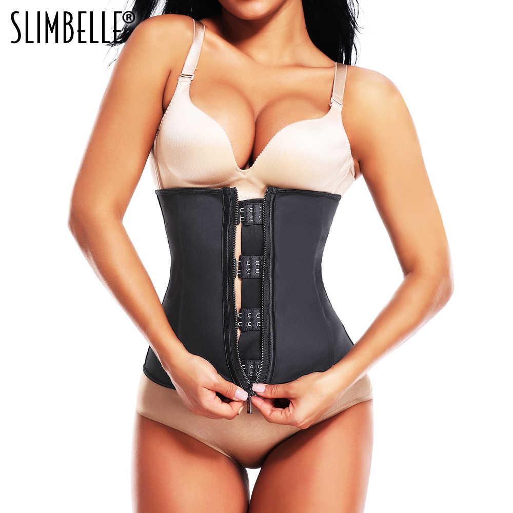 82304d9e22 Women Waist Trainer Corset Body Shaper Black Latex Rubber Steel Boned  Zippers Firm Waist Cinchers Modeling