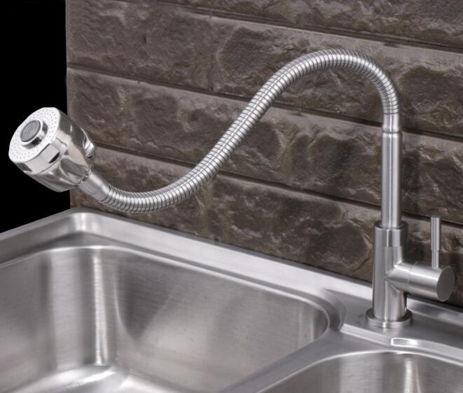 Free shipping deck mounted cold water kitchen faucet fold expansion kitchen sink tap two function shower