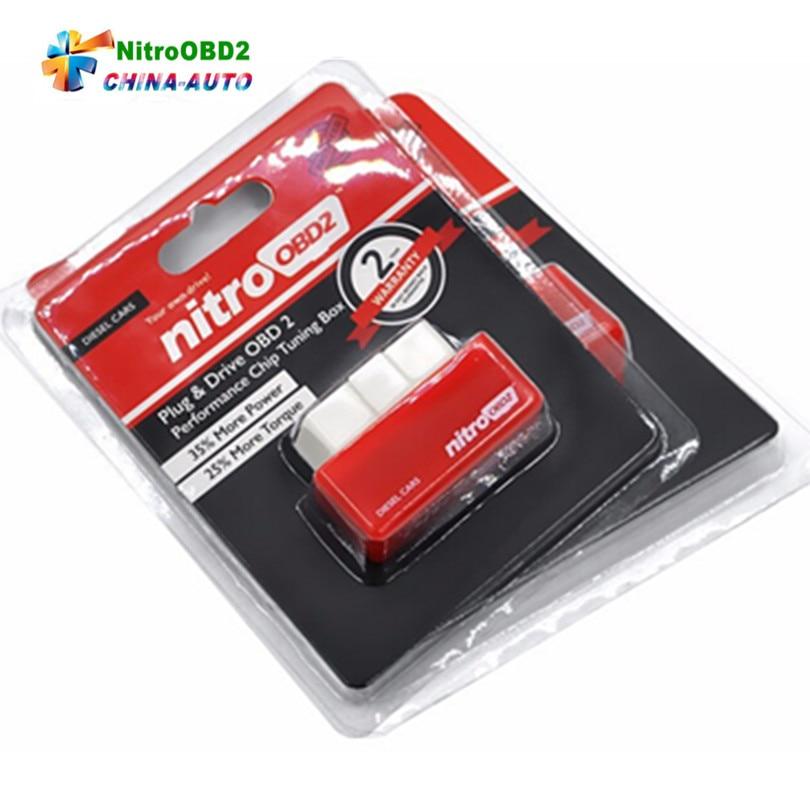 100 шт./лот Новинка 2017 года nitroobd2 Diesel чип-тюнинг автомобиля коробка подключи и Драйв Nitro OBD2 чип тюнинг коробка меньше топлива и низкий уровень в...