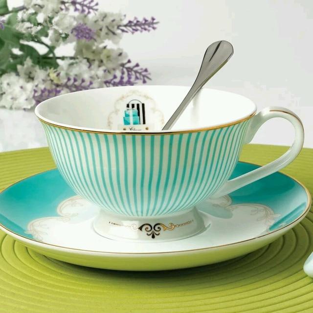 Joyous Floral Pattern Stripe Ceramic Fine Bone China Cafe Coffee Milk Cup  British Black Tea Mug