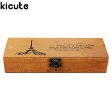 Stationery Storage-Box Pencil-Case Wooden Vintage Kicute Gift Multifunction Children