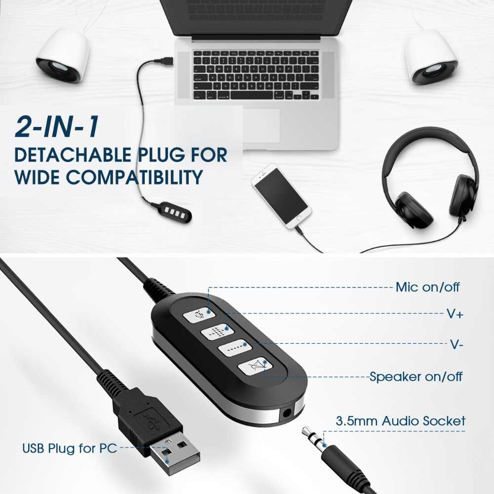 Mpow HC4 Wired Headphones For Call Center Retractable Microphone Fold-able  Headset USB/3 5mm Plug Headphone For Skype PC Tablet