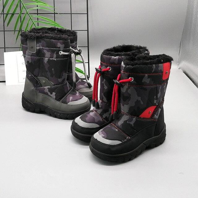 separation shoes 4f004 b1db6 Kinder Camouflage Schwarz Stiefel Schnee für Kleinkind Baby Mid kalb Winter  Warme Schuhe Kleine Mädchen Jungen kurze Botas