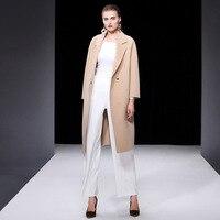 Высококачественное двустороннее кашемировое пальто, корейская мода 2018, осенне зимнее шерстяное пальто для женщин, большие размеры, Женское