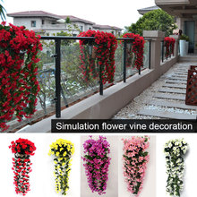 Silk Flowers Cloth Flower Vine Fashion Artificial Balcony 1 Bunch European Simulation Violet Orchid Drop Shipping