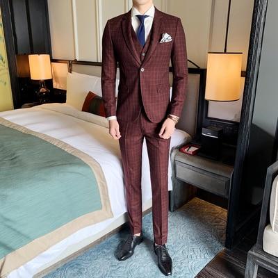 Men Suits Pants Costume Wedding-Terno Slim-Fit 3pieces Vest Plaid for Masculino