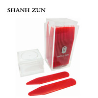 SHANH ZUN 30 Plastic Collar Stays Bones Tabs Red Tone 2 2 In Storage Box