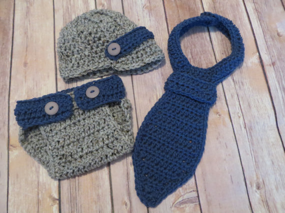 fd9633e934ee Baby Hat   Diaper Cover SET Crochet Little Mister Necktie Set ...