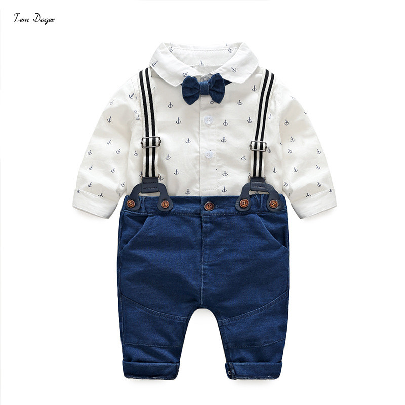 Tem Doger Baby Boys Gentleman Clothes Suits Newborn Anchor Cotton Long Sleeve White Bowtie Shirt Ropmer+ Overalls Infant Outfits cotton baby rompers set newborn clothes baby clothing boys girls cartoon jumpsuits long sleeve overalls coveralls autumn winter
