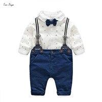 Tem Doger Baby Boys Gentleman Clothes Suits Newborn Anchor Cotton Long Sleeve White Bowtie Shirt Ropmer