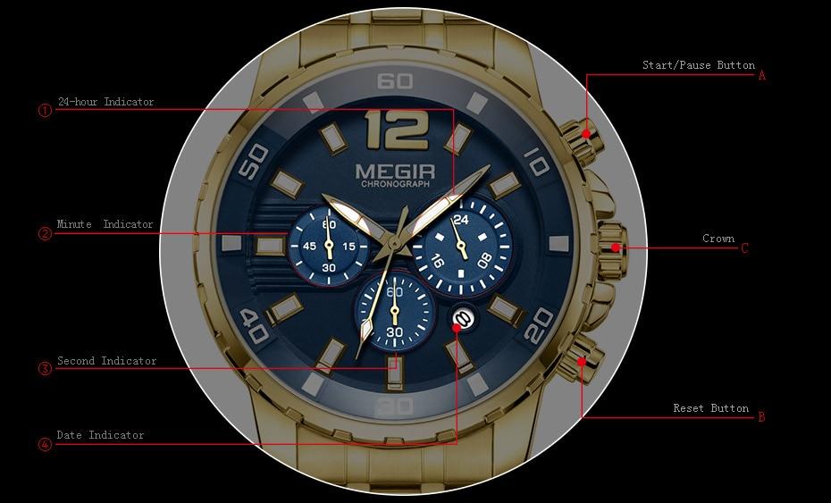HTB1VtvAdAKWBuNjy1zjq6AOypXa7 Megir Men's Gold Stainless Steel Quartz Watches Business Chronograph Analgue Wristwatch for Man Waterproof Luminous 2068GGD-2N3