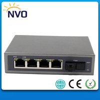 Network 5 port Mini POE Switch IEEE802.3at 65W with Single Fiber,1310/1550nm,25km SC Uplink Fiber port and 4 ports 10/100M RJ45