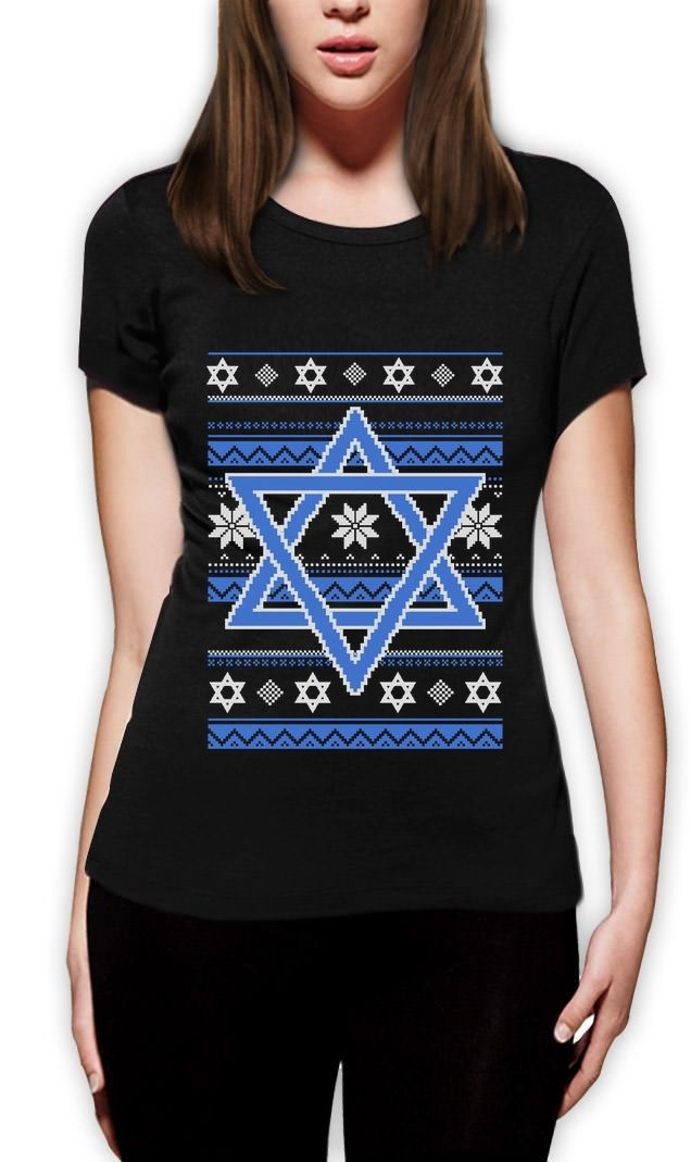 2018 Fashion Hannukah Nights Ugly Holiday Sweater Star of David Women T-Shirt Jewish Gif ...