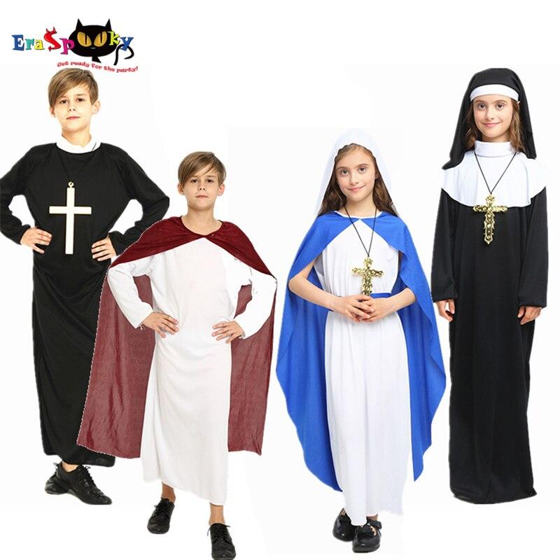 Eraspooky Medieval Cosplay Boys Girls Nun Priest Jesus Goddess Robe Halloween Costume kids Carnival Party Christmas Fancy Dress