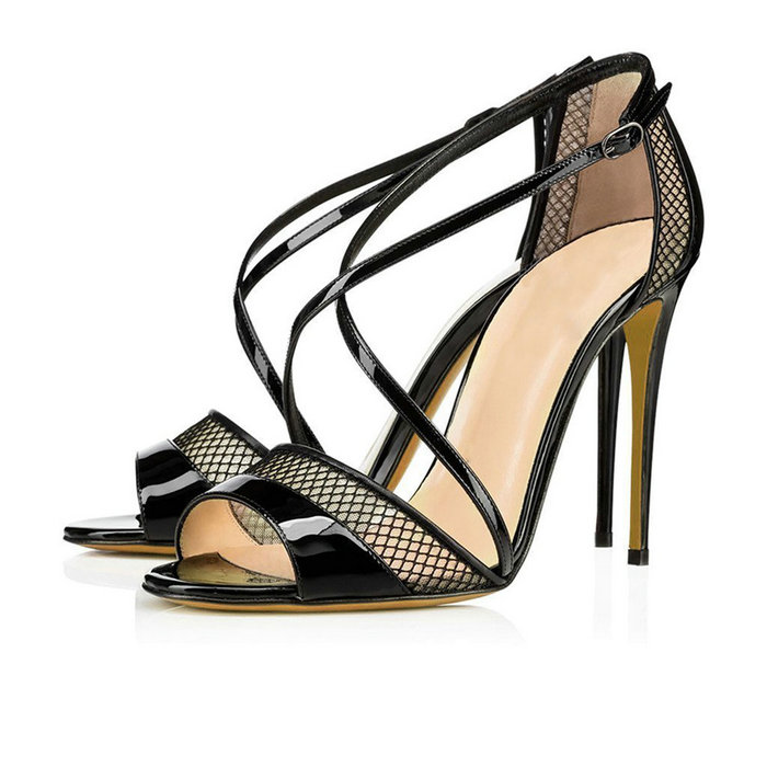 ФОТО Women's Peep Toe Stiletto High Heels Sandals Ladies Crisscross Ankle Buckle Strap Pumps Mesh Shoes Black Beige EU Size 35-46