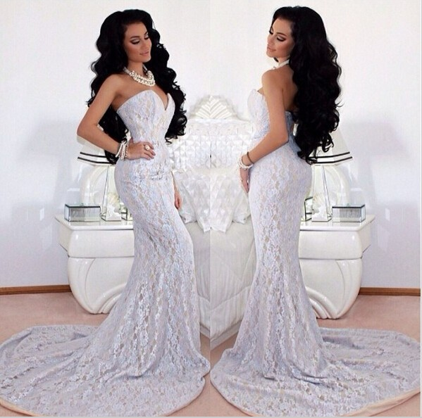 Online Buy Wholesale white sheer lace mermaid prom dress from ...