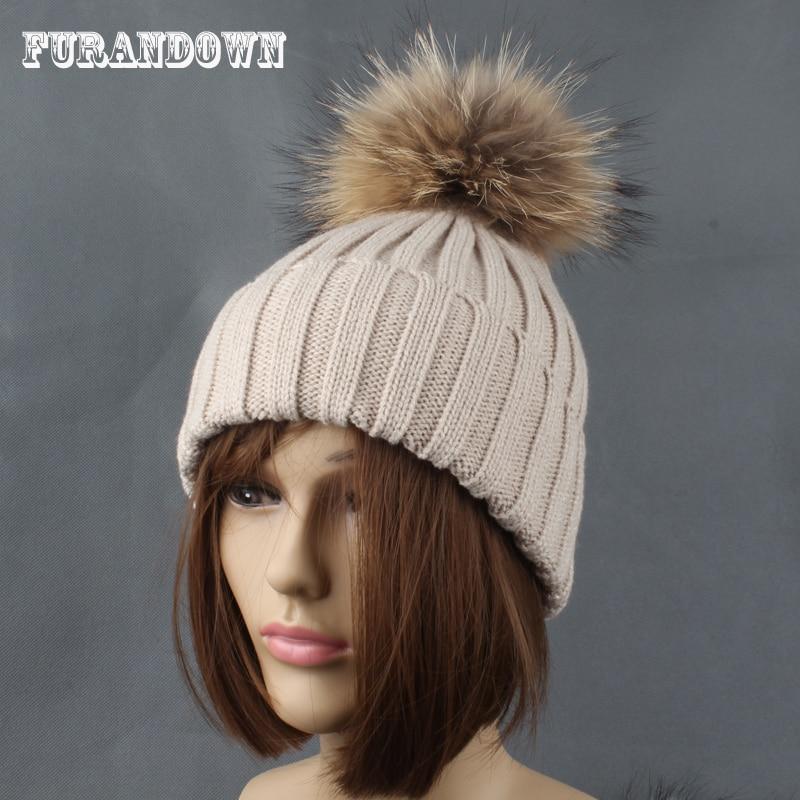 2017 vinter efterår kvinder strikket hat cap pels Pompom beanie gorros naturlige pels hatte til mænd sombrero hombre