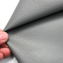 Pure Color Litchi Pattern Printed PU Faux Leather Grey Synthetic Upholstery Fabric Handmade DIY Sewing Artificial Cloth
