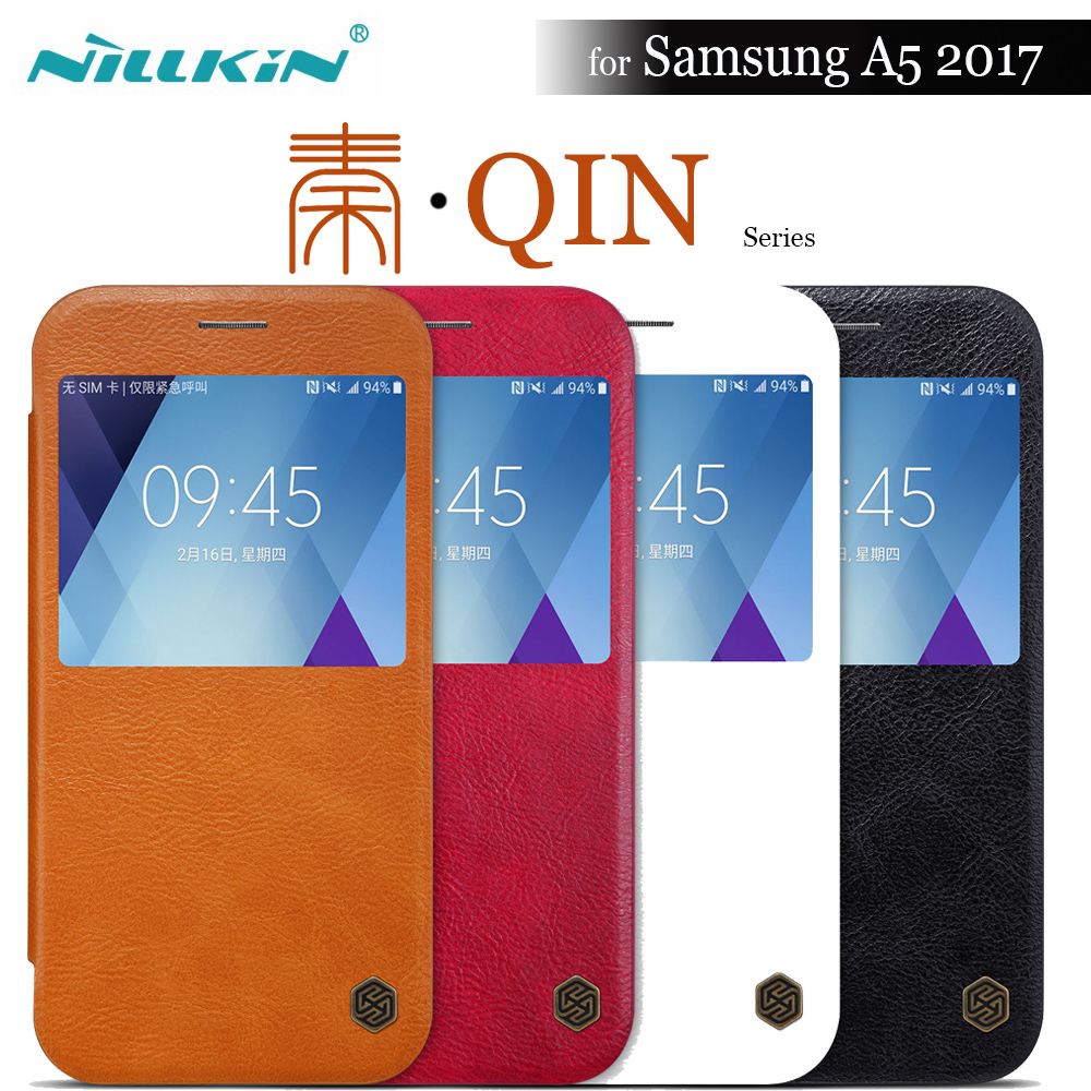 Nilkin for Samsung A5 2017 Case Nillkin Vintage Qin Flip PU leather hard back cover 5.2'' view window for Samsung A5 A520 2017
