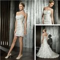 New Style 2 pcs in 1 Button Back Removable Mermaid Removable Train Bridal Gowns Abendkleider Detachable Skirt Wedding Dress