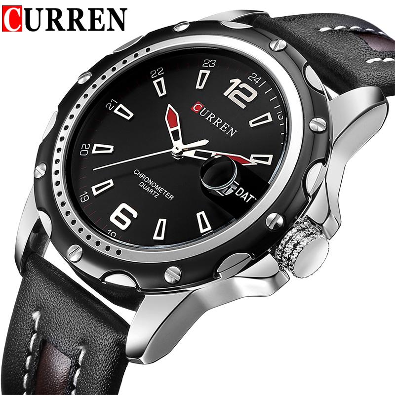 Prix pour NOUVEAU Curren Marque Hommes Sport Montres Hommes de Quartz Date Horloge Mâle Casual Bracelet En Cuir Montre-Bracelet relogio masculino reloj hombre