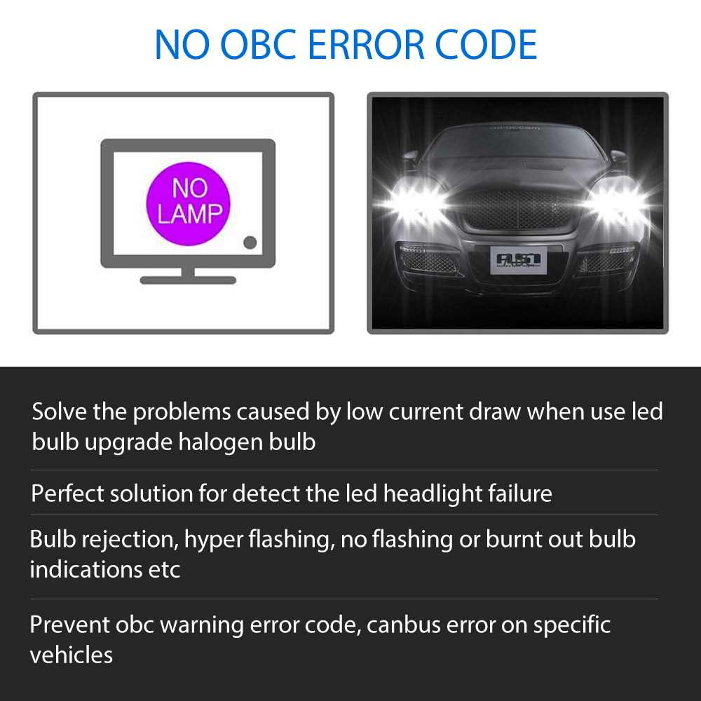 2pcs Error Free LED Canbus Decoder for LED Car Headlight Bulb Kits for SUV Fog Lamps H4 H7 H1 H11 9006 9007 Adapter Anti-Flicker