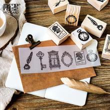 Винтаж Frame Корона перо Дерево Штамп DIY craft деревянные штампы для скрапбукинга канцелярские Скрапбукинг Стандартный stamp