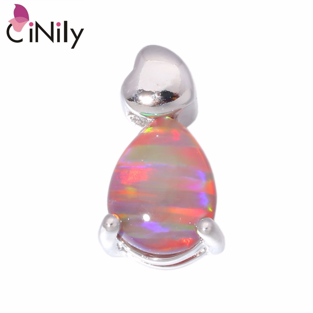 32e93cf3caa565 CiNily Created Orange White Fire Opal Silver Plated Wholesale Hot Sell for  Women Jewelry Pendant 14mm OD4289-90