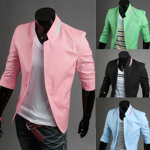 New 2014 Men Blazers For Summer Three Quarter Sleeve Stand Collar ...