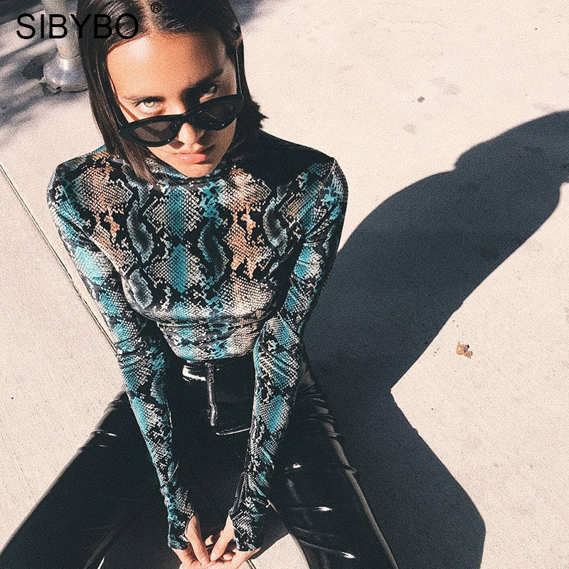 Sibybo Snake Skin Grain Print Bodysuit Women Tops Long Sleeve Autumn Winter Turtleneck Slim Bodysuits Rompers Womens Jumpsuit #1