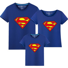 1 pcs Hot Superman Family Matching T shirts Quality Cotton Summer Style Mother and Daughter Father and Son Clothes Print T-shirt