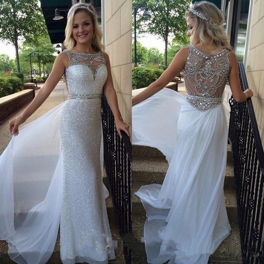 2018 New Luxury Bling Sparkle Prom Dresses Mermaid White
