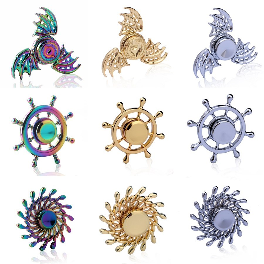 Anise Rudder Gold Fidget Spinner EDC Hand Spinners Autism ADHD Kids Christmas Gifts Metal Finger Toys Spinners