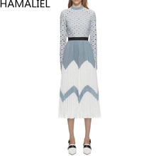 95370f54f5 HAMALIEL 2018 Runway Designer Women Pleated Lace Dress Self Portrait  Chiffon Patchwork Long Sleeve Vintage Hollow
