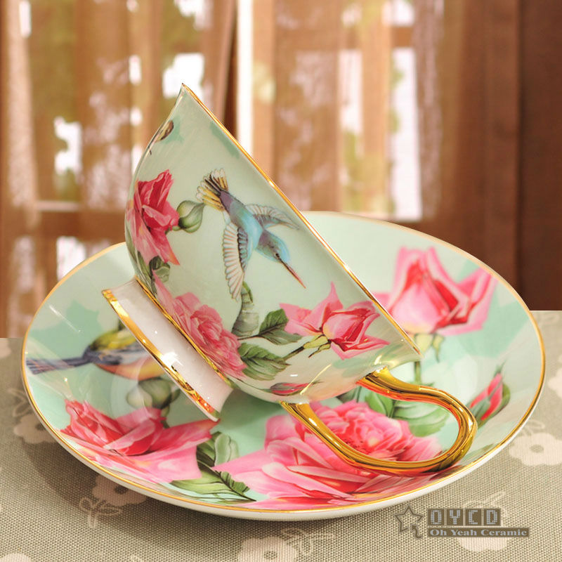 Porcelain tea cup and saucer ultra-thin bone china flowers