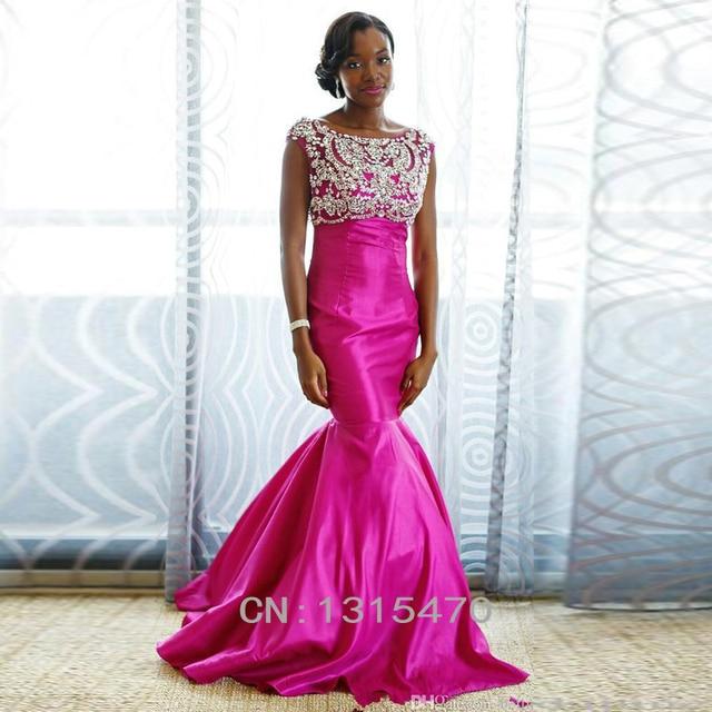 Sparkle lujo Satinado Mujeres Largo Prom vestidos del partido Fucsia ...