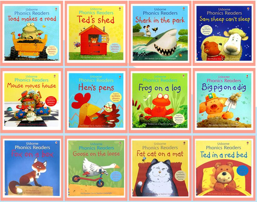 12 Books/set Usborne Phonics Readers English Children's Picture Book Enlightenment Warm Parent-child Storybook Reading