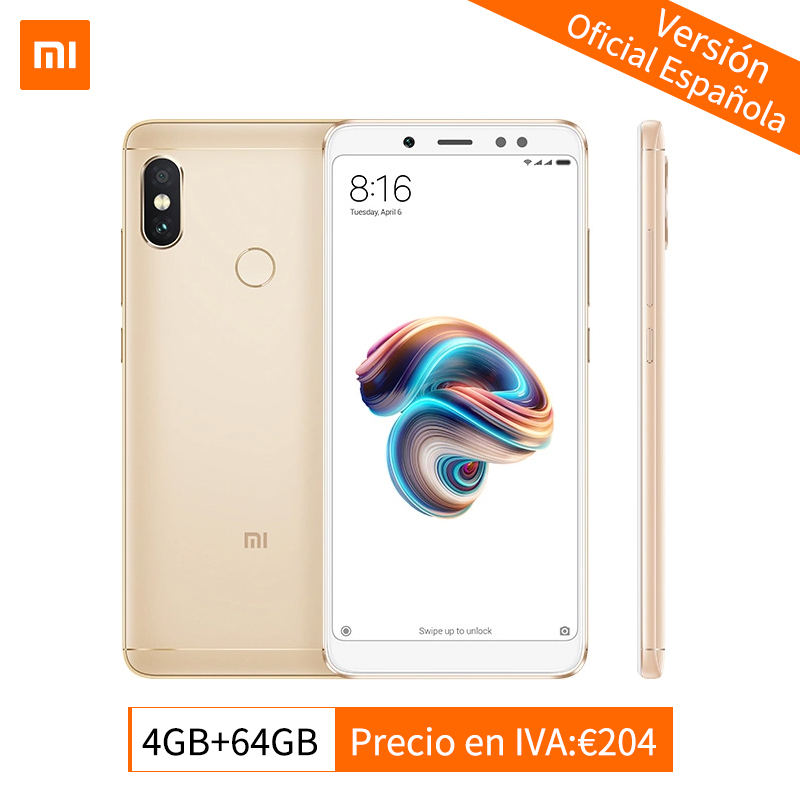 Mondial Version Xiaomi Redmi Note 5 4 gb 64 gb Android 8.1 Smartphone Snapdragon 636 Octa base 5.99 Full écran AI Double Caméras CE