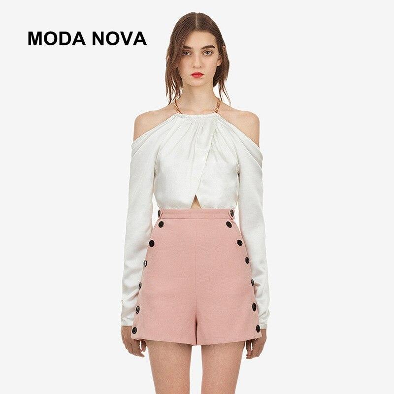 MODA NOVA autoportrait Blouse femmes Sexy tunique épaule dénudée à manches longues chemise blanche 2018 haut d'automne vêtements de bureau Befree