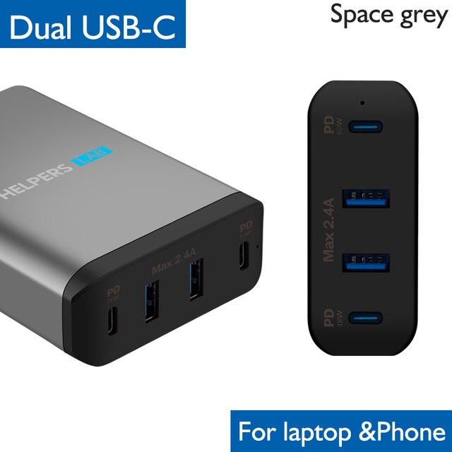 Chargeur de voyage double type c PD, avec 2 ports USB USB C PD et 2 ports USB 5V, 2,4 a, Compatible avec la plupart des USB C ordinateurs portables et téléphones, comme DELL XPS