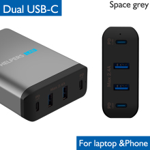 Dual Type-C PD Travel Charger Adapter with 2 USB-C & USB 5V 2.4A Compatible Most Laptop Phone Like DELL XPS