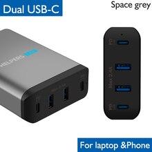 Двойной адаптер зарядного устройства PD Type C для путешествий, с 2 USB разъемами PD и 2 USB 5 в 2,4 А, совместимыми с большинством ноутбуков и телефонов, таких как DELL XPS, и с двумя USB разъемами, совместимыми с большинством моделей ноутбуков и телефонов с устройствами DELL, которые не входят в комплект.