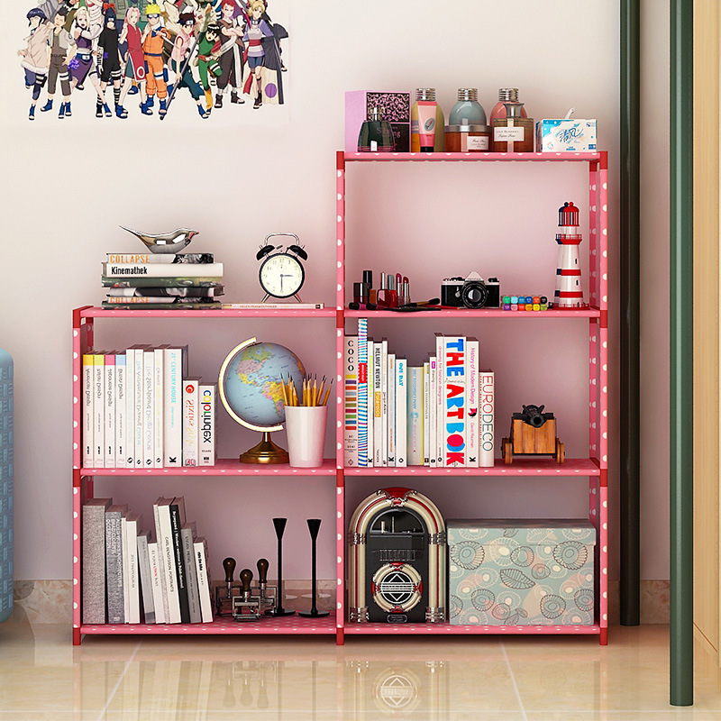 Simple 5 grid Bookshelf non woven Steel pipe structure Easy assembly ...